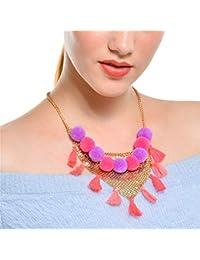 b225393f623b JZTRADING Borla Gargantilla Collar Collar Colgante Lindo Encanto Ajustable  Colorido Necklet para Señoras Niñas Mujeres Partido