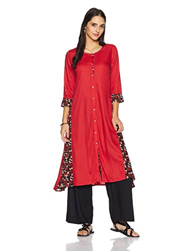 Pink by Juniper Women's A-line Rayon Kurta (5303_Red_Small)