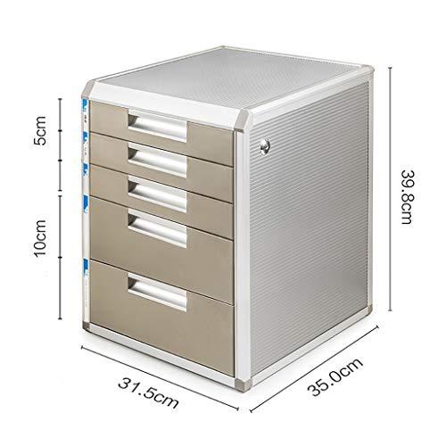 Fpigshs cassettiera schedario armadio ufficio armadio archivio armadio contenitore basso multifunzione con serratura 4/5 piani cassetto in lega di alluminio cartelletta a4 armadio ufficio desktop