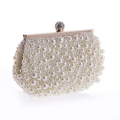Frauen Abend Beutel Polyester All Seasons formale Casual Event/Party Hochzeit Minaudiere Imitation Pearl Crystal/Handtasche Kupplung mehr Farben, Weiß (Minaudiere Crystal)