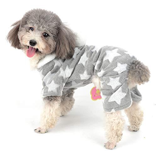 Ranphy Hunde-Pyjama Flecce Overall Winter Jumpsuit Mädchen Haustier Pjs Hoodie Chihuahua Kleidung Welpen Pyjama Outfit Hund Weihnachten Kostüm Yorkie Kleidung für kleine Hunde (Zwei Männliche Kostüm Ideen)