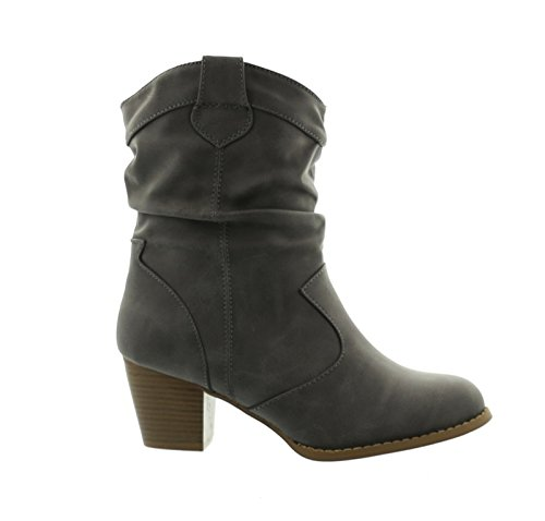 King of Shoes Botines Cowboy Western Botas Boots Avispas Botas Zapatos 37, Color Gris, Talla 36 EU