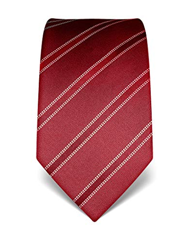 Vincenzo boretti cravatta elegante classica da uomo, 8 cm x 15 cm, di pura seta di alta qualità, idrorepellente e antisporco, motivo a righe rosso vino