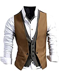 Luckhome Men Cotton Double Breasted Waistcoat Retro Mens Formal Tweed Suit Vest Vest Striped Double-Breasted Vest L, KH