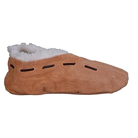 Lammfell-Hausschuhe | Damen & Herren | gefüttert | Leder-Puschen | Warmes Futter aus Lammfell-Imitat | Winter-Pantoffeln | extra warm &