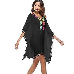 OVERDOSE Frauen Quaste lose große Größe Badeanzug Bikini Kleid Strand vertuschen Sonnenschutz Aufdecken Beach Cover Up (Black,Free Size)