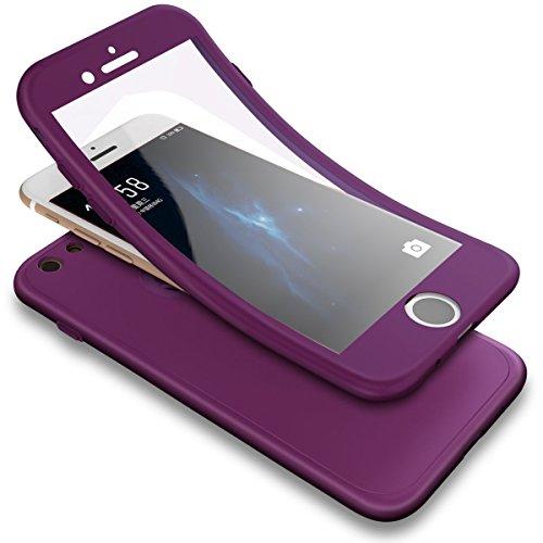 Hülle für iPhone 5S,iPhone SE Vollschutz Case + Gratis Panzerglas, SaKuLa 360 Grad Komplettschutz Vorder und Rückseiten Ganzkörper-Koffer Weich TPU Schutzhülle für iPhone 5/5S/SE [Thin Fit 360°] Rundumschutz-Schale Etui Bumper Cover Tasche für iPhone 5/5S/SE ,Soft Silikon Stoßdämpfend Beidseitiger Handyhülle Touchscreen 3 in 1 Ultra Dünne Handytasche für iPhone 5/5S/SE-Lila