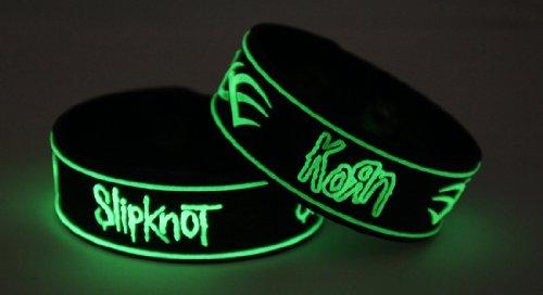 SLIPKNOT grano 2pcs NEU. Glow In The Dark Wristband 2X 16G35