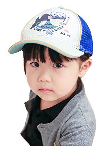 Bigood Chapeau de Baseball Enfant Coton Casquette Maille Eté Motif Poissom Respirant Bleu