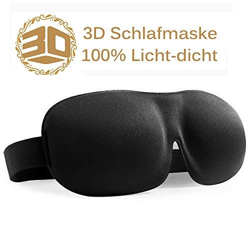 Schlafmaske für erholsamen Schlaf, 3D geformte Augenmaske – Größerer und Tieferer Raum für die Augen – 100% Licht-dicht, kein Druck auf die Augen
