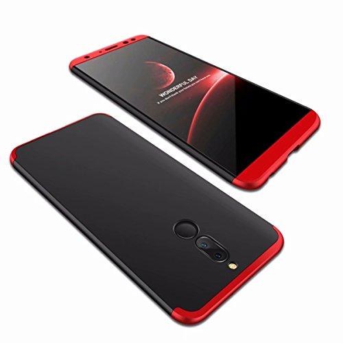 AILZH Huawei Mate 10 Lite Hülle 360°Schutzhülle PC Shell Anti-Schock Shockproof Ganzkörper Schützend Anti-Kratz Stoßfänger 360 Grad Full-Cover Case Matte Schutzkasten(Rot und schwarz)