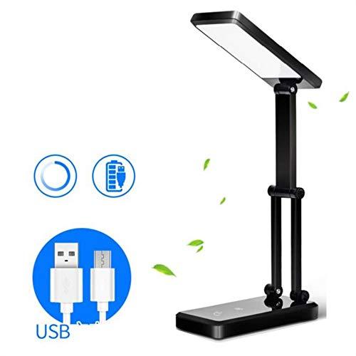 LF Faltbare LED-Schreibtischlampe, USB, das tragbare Leseaugenschutz-Lichter für Hauptschlafsaal-Bürotischbeleuchtung auflädt (Color : Schwarz) -