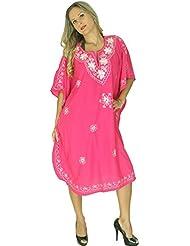 La Leela dames 5 en 1 léger rayonne douce Tunique brodée soirée décontractée robe bikini kimono maillots de bain couvrir loungewear beachwear plus courte casual nuit caftan rose