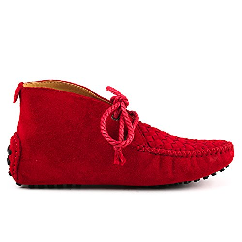 Shenduo - Mocassins & Boots Cheville femme nubuck, Loafers multicolore D7258 Rouge