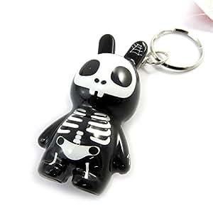 Les Trésors De Lily [M2219] - Porte-Clés 'Crazy Bunny' noir blanc (squelette)