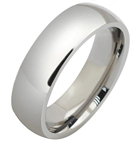 Unisex Acciaio inox Classic polacco finitura bianco Wedding Bands 6MM Dimensione 25 di AieniD - Religiosi Diamante Wedding Band