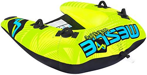 MESLE Tube Wakester 2, Chariot-Towable für 1 bis 2-Personen, Inflatable Fun-Tube, grün-blau-schwarz, 170 x 145 cm, Multi-Rider Hufeisen, Kinder Erwachsene, aufblasbar ziehbar, Boot Jet-Ski Yacht -