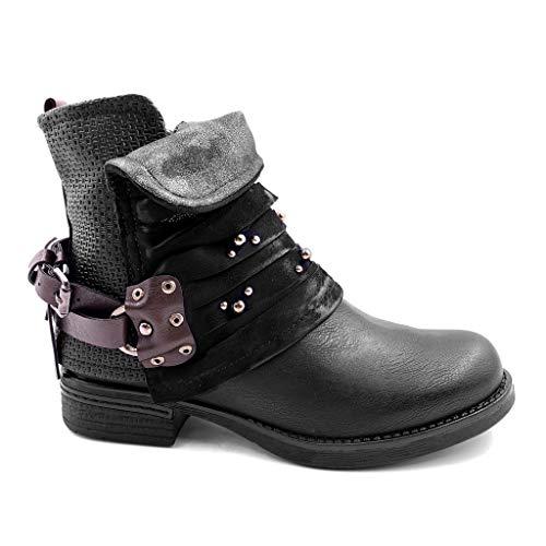 Angkorly - Damen Schuhe Stiefeletten - Biker - Reitstiefel - Kavalier - bi-Material - Multi-Zaum - Nieten - besetzt - Geflochten Blockabsatz 3 cm - Schwarz F2130 T 37