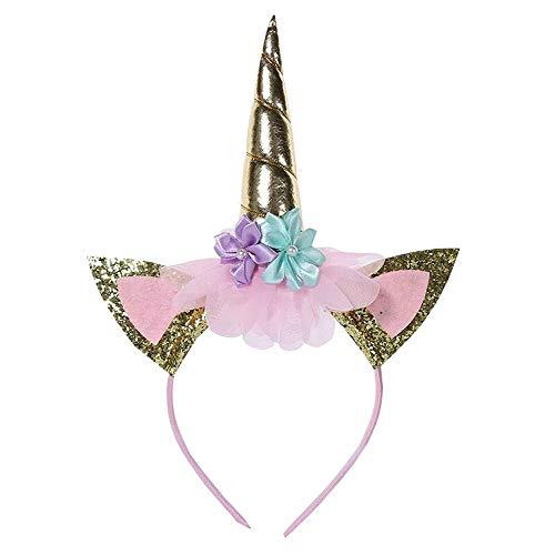 Play Cross Kostüm - QYS Unicorn Dress up Kostüm für Mädchen Kinder Cross Back Ruffle Sleeves Sommerkleid Fancy Party Kleider Halloween Geburtstag Outfits,Headband,140cm