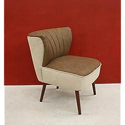 Poltroncina stile vintage anni cinquanta in eco pelle e tessuto cotone - design italiano