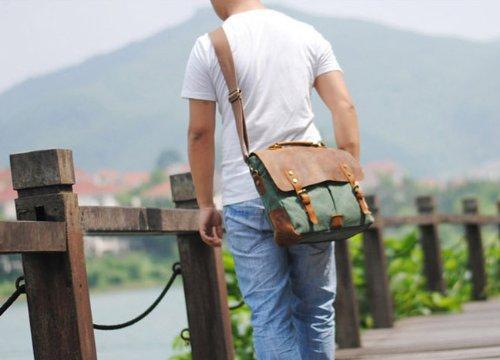 Tempo libero Moda Vintage Canvas borsa tracolla Postman uomo vera pelle Crazy Horse da donna, con maniglia superiore borsa di scuola sacchetto Satchel escursionismo Studente Schoolbag Dimensioni: 36x  blu