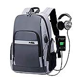 UCSLIFE Business Sac à Dos avec Port USB & Musique, Unisexe Multifonction antivol à Dos pour Ordinateur Portable imperméable pour Homme Sac Universitaire pour la Daypack école école Gris