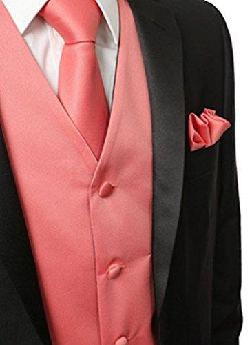 Herren 3 Stueck Weste NeckTie Tasche Square Set fuer Anzug oder Smoking von Judi Dench Koralle