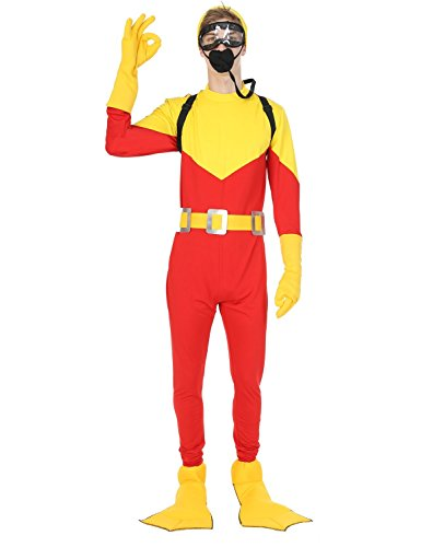 Mens Scuba Steve Diving Dive w/ Backpack Movie Fancy Dress Costume (Kostüm Taucher)