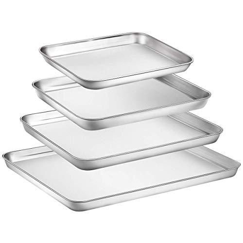 Hoovo Set 4 Edelstahl Backblech Bakeware Cookie Pfanne Tablett Antihaft-Beschichtung Superior Spiegel Oberfläche & Spülmaschinenfest