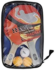 Konex Rubber Table Tennis Starter Kit,Pair of Racquet with 3 Balls and case(Multicolour,OM-10)