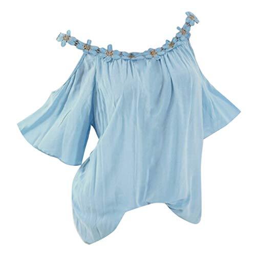 Bfmyxgs Frauen Plus Size Strapless Spitze Patchwork Kurzarm Oansatz T-Shirt Bluse Schulterfreie Oberteile