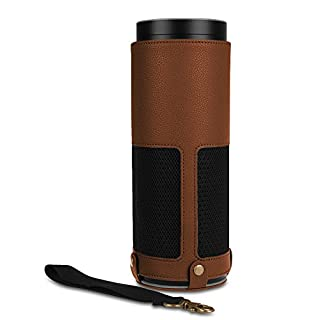 Fintie Amazon Echo Hülle - Premium Kunstleder Schutzhülle Case Tasche mit Abnehmbarem Band für Amazon Echo, Braun