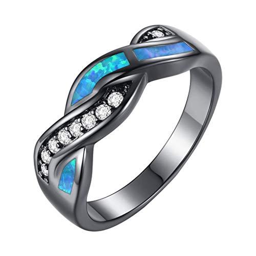 Nourich - anello da donna in stile retrò, con diamanti neri, stile punk, in rame, con zirconia cubica, per decorazione di gioielli