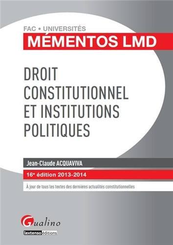 Droit constitutionnel et institutions politiques, 2013-2014