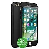 CASYLT iPhone 6 Plus / 6s Plus Hülle [inkl. 2X Panzerglas] 360 Grad Fullbody Premium Handy-Hülle Schwarz kompatibel für iPhone 6 Plus Komplettschutz Hülle