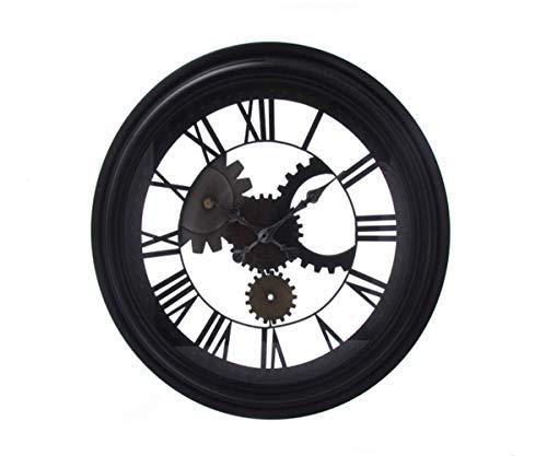 Orologio da parete retrò 3d ingranaggi numeri romani design industrial-stile ferro art office bar cafe home decorazione metal hanging clock-con specchio in vetro trasparente