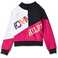 Tommy Hilfiger Girl's Color Text Block Sweater, Blue (Black Iris/Virtual Pink 002), 8