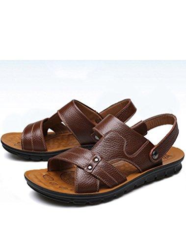 MatchLife Herren Leder Strand Sandalen Style10-Dunkel Braun