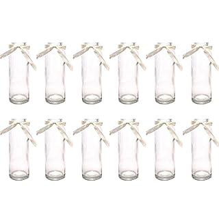 Annastore 12 x Glasflaschen - Vasen mit cremefarbenem Band H 16 cm - Vasen - Glasfläschchen - Dekogläser