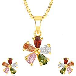 VK Jewels Flower Multicolor Gold Plated Alloy CZ American Diamond Pendant Set with Earrings for Women [VKPS1136G]