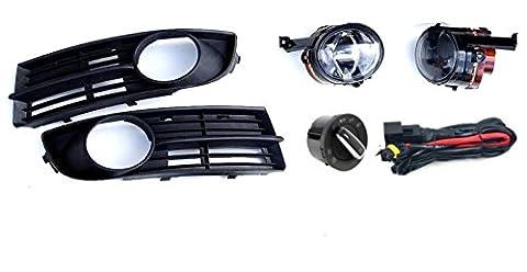 VW TOURAN 03-06 FOG LIGHTS LAMPS GRILLE KIT SET + WIRING & HEADLIGHT SWITCH AUTO