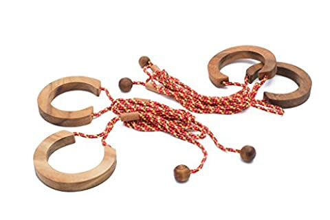SiamMandalay: Freaky Rope - Handcuff Game Disentanglement Puzzle. String & Wood 3D Brain Teaser Game for Children & Adults