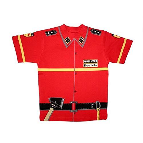 Kid's Shirt Feuerwehr T-Shirt rot, Größe 116 (Feuerwehrmann Verkleiden Kostüm Kinder)