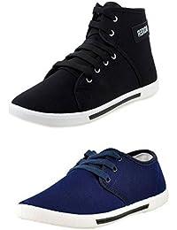 Leewon Men's Combo Pack of 2 Canvas Multicolour Sneakers - 9