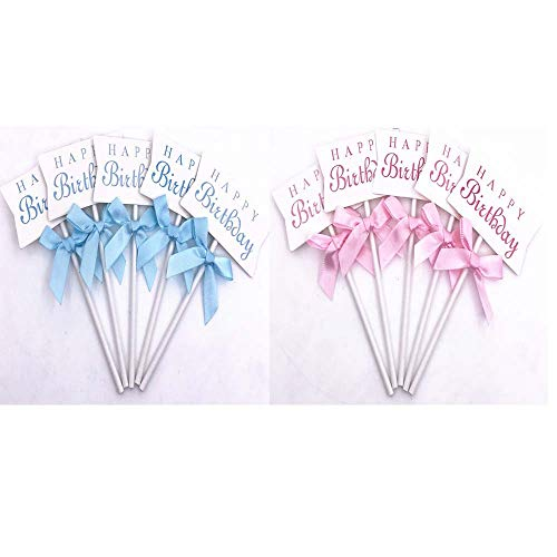 Cupcake-Topper Happy Birthday, 50 Stück, Rosa und Blau (Topper Cake Watermelon)