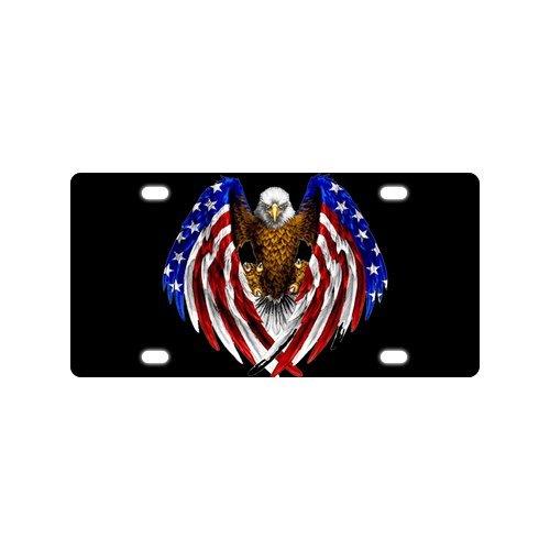Preisvergleich Produktbild Cool Design Kahladler American Flag Mental Car Kennzeichen mit 4 Löchern - 30, 5 x 15, 2 cm