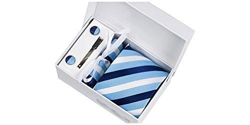 Coffret Québec - Cravate à rayures bleu ciel brillantes, bleu marine et blanches, boutons de manchette, pince à cravate, pochette de costume