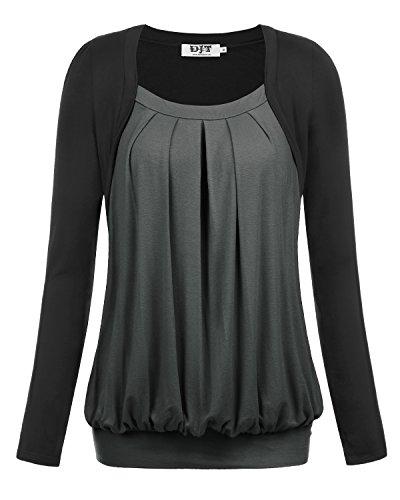 DJT - Maglietta in maglia manica lunga allentato - Donna Grigio Medium