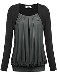 DJT Damen Rundkragen Langarm Falten Faux Twinset Langarmshirt T-Shirt