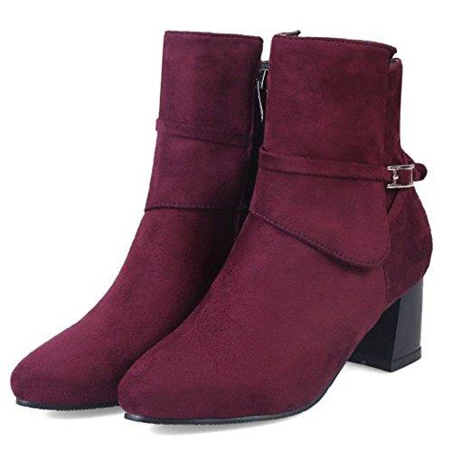 TAOFFEN Femmes D¨¦contract¨¦e Talons Epaiss Booties Chaussures Fermeture Eclair Cheville Bottes Red Wine
